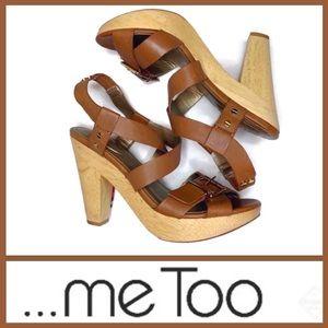 ...Me Too Tan Leather Sandal Lt. Brown wood Heel